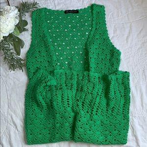 INC • long Knit sleeveless Cardigan